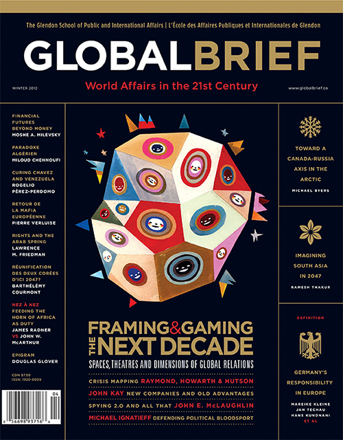 The Winter 2012 issue of Global Brief, with illustrations by Gordon Wiebe, Jean Tuttle, Ryan Snook and Chris Buzelli, will be on newsstands soon.  www.fishauf.com/GB9  view an online facsimile in a Flash-enabled browser